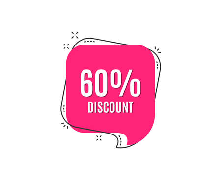 60% Discount. Sale offer price sign. Special offer symbol. Speech bubble tag. Trendy graphic design element. Vector