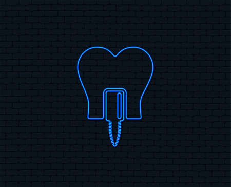 Neon light. Tooth implant icon. Dental endosseous implant sign. Dental care symbol. Glowing graphic design. Brick wall. Vector