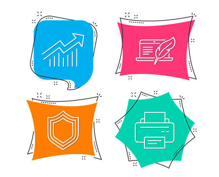 Set of Copyright laptop, Security and Demand curve icons. Printer sign. Writer device, Protection shield, Statistical report. Printing device.  Flat geometric colored tags. Vivid banners. Vector