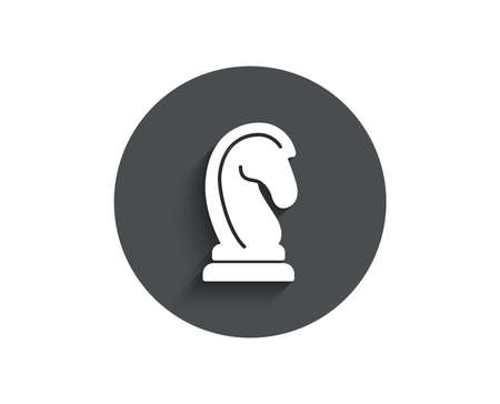 Chess Knight simple icon. Marketing strategy symbol. Business targeting sign. Circle flat button with shadow. Vector