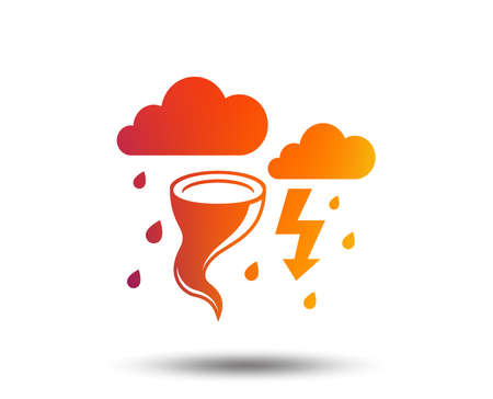 Storm bad weather sign icon. Clouds with thunderstorm. Gale hurricane symbol. Destruction and disaster from wind. Insurance symbol. Blurred gradient design element. Vivid graphic flat icon. Vector