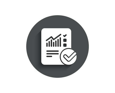 Checklist document simple icon. Analysis Chart or Sales growth report sign. Statistics data symbol. Circle flat button with shadow. Vector