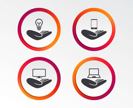 Helping hands icons. Intellectual property insurance symbol. Smartphone, TV monitor and pc notebook sign. Device protection. Infographic design buttons. Circle templates. Vector