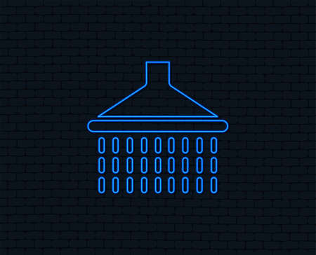 Neon light. Shower sign icon. Douche with water drops symbol. Glowing graphic design. Brick wall. Vector  イラスト・ベクター素材