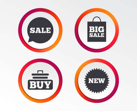Sale speech bubble icon. Buy cart symbol. New star circle sign. Big sale shopping bag. Infographic design buttons. Circle templates. Vector