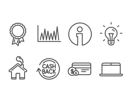 Set of Payment method, Line graph and Idea icons. Cashback, Success and Laptop signs. Cash or non-cash payment, Market diagram, Light bulb. Refund commission, Award reward, Mobile computer. Vector