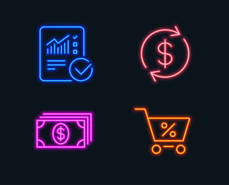 Neon lights. Set of Banking, Usd exchange and Checked calculation icons. Special offer sign. Money payment, Currency rate, Statistical data. Discounts.  Glowing graphic designs. Vector