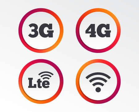 Mobile telecommunications icons. 3G, 4G and LTE technology symbols. Wi-fi Wireless and Long-Term evolution signs. Infographic design buttons. Circle templates. Vector Иллюстрация