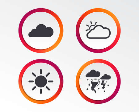 Weather icons. Cloud and sun signs. Storm or thunderstorm with lightning symbol. Gale hurricane. Infographic design buttons. Circle templates. Vector