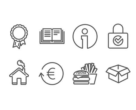 Set of Education, Burger and Exchange currency icons. Password encryption, Success and Opened box signs. Instruction book, Cheeseburger, Reshresh exchange rate. Vector