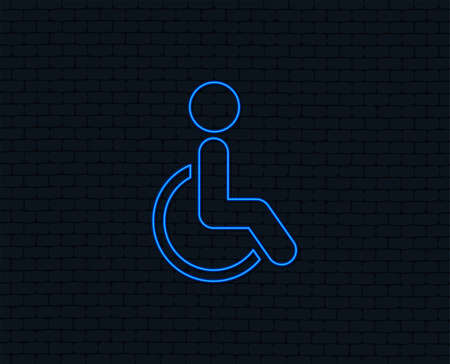 Neon light. Disabled sign icon. Human on wheelchair symbol. Handicapped invalid sign. Glowing graphic design. Brick wall. Vector