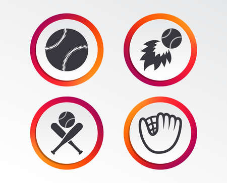 Baseball sport icons. Ball with glove and two crosswise bats signs. Fireball symbol. Infographic design buttons. Circle templates. Vector Illustration
