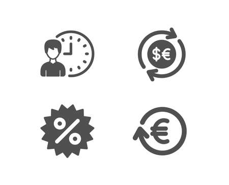 Set of Discount, Money currency and Working hours icons. Exchange currency sign. Special offer, Cash change, Project deadline. Reshresh exchange rate.  Quality design elements. Classic style. Vector