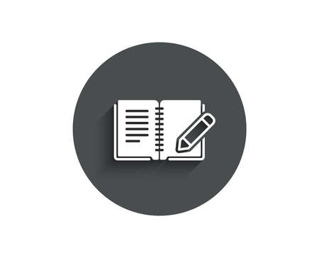 Feedback simple icon. Book with pencil sign. Copywriting symbol. Circle flat button with shadow. Vector Illustration