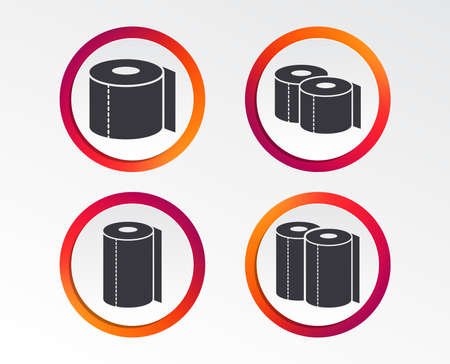 Toilet paper icons. Kitchen roll towel symbols. WC paper signs. Infographic design buttons. Circle templates. Vector Ilustração