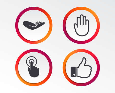 Hand icons. Like thumb up symbol. Click here press sign. Helping donation hand. Infographic design buttons. Circle templates. Vector Illustration