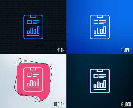 Glitch, Neon effect. Report document line icon. Analysis Chart or Sales growth sign. Statistics data symbol. Trendy flat geometric designs. Vector Ilustração