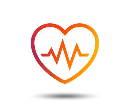 Heartbeat sign icon. Cardiogram symbol. Blurred gradient design element. Vivid graphic flat icon. Vector Illustration