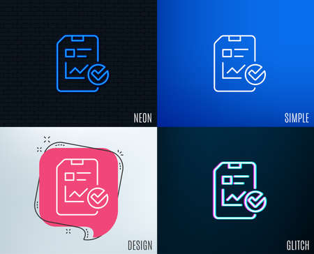 Glitch, Neon effect. Report document line icon. Analysis Chart or Sales growth report sign. Statistics data or Checklist symbol. Trendy flat geometric designs. Vector
