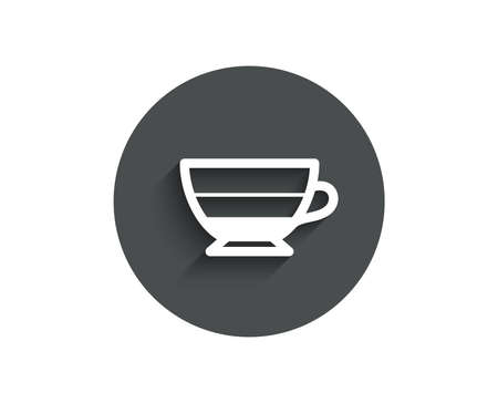 Americano coffee icon. Hot drink sign. Beverage symbol. Circle flat button with shadow. Vector Illustration