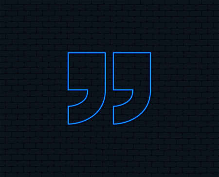 Neon light. Quote sign icon. Quotation mark symbol. Double quotes at the end of words. Glowing graphic design. Brick wall. Vector