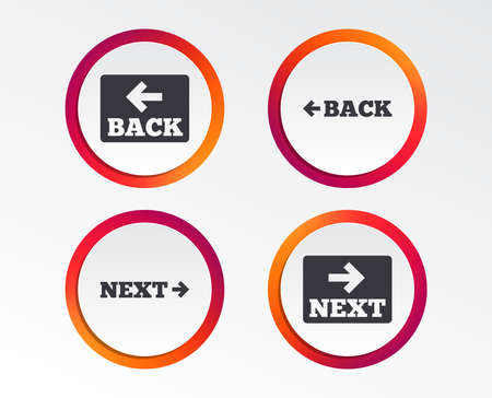 Back and next navigation signs. Arrow direction icons. Infographic design buttons. Circle templates. Vector Illustration