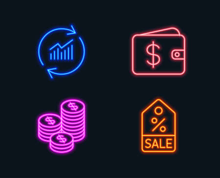 Neon lights. Set of Update data, Coins and Dollar wallet icons. Sale coupon sign. Sales statistics, Cash money, Discount tag.  Glowing graphic designs. Vector Illustration
