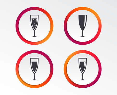 Champagne wine glasses icons. Alcohol drinks sign symbols. Sparkling wine with bubbles. Infographic design buttons. Circle templates. Vector