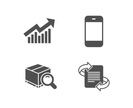 Set of Demand curve, Search package and Smartphone icons. Marketing sign. Statistical report, Tracking service, Cellphone or phone. Article.  Quality design elements. Classic style. Vector 일러스트