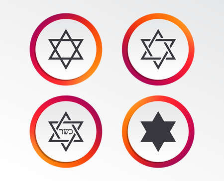 Star of David sign icons. Symbol of Israel. Infographic design buttons. Circle templates. Vector