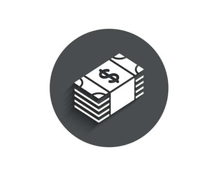 Cash money simple icon. Banking currency sign. Dollar or USD symbol. Circle flat button with shadow. Vector  イラスト・ベクター素材