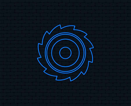 Neon light. Saw circular wheel sign icon. Cutting blade symbol. Glowing graphic design. Brick wall. Vector Stock Illustratie