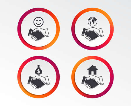 Handshake icons. World, Smile happy face and house building symbol. Dollar cash money bag. Amicable agreement. Infographic design buttons. Circle templates. Vector