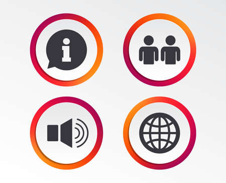 Information sign. Group of people and speaker volume symbols. Internet globe sign. Communication icons. Infographic design buttons. Circle templates. Vector  イラスト・ベクター素材