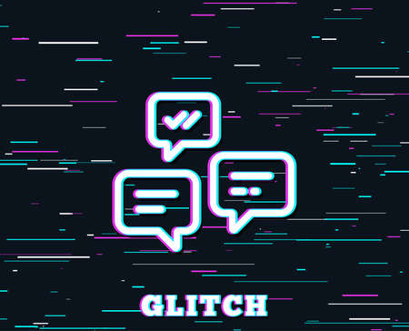 Glitch effect. Chat Messages line icon. Conversation or SMS sign. Communication symbol. Background with colored lines. Vector