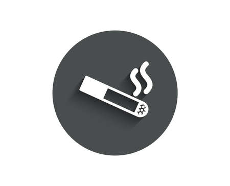 Smoking area simple icon. Cigarette sign. Smokers zone symbol. Circle flat button with shadow. Vector Ilustracja