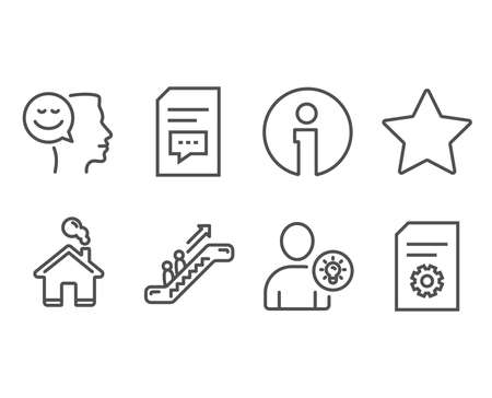 Set of User idea, Comments and Good mood icons. Star, Escalator and File settings signs. Light bulb, Document with speech bubble, Positive thinking. Best rank, Elevator, File management. Vector Imagens - 111102132