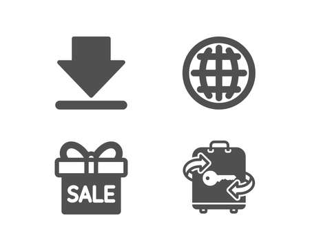 Set of Downloading, Sale offer and Globe icons. Luggage sign. Load information, Gift box, Internet world. Baggage locker.  Quality design elements. Classic style. Vector Illustration