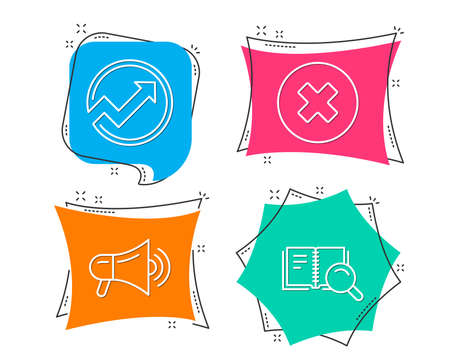 Set of Megaphone, Audit and Close button icons. Search book sign. Advertisement, Arrow graph, Delete or decline. Online education.  Flat geometric colored tags. Vivid banners. Trendy graphic design