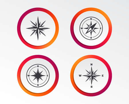 Windrose navigation icons. Compass symbols. Coordinate system sign. Infographic design buttons. Circle templates. Vector