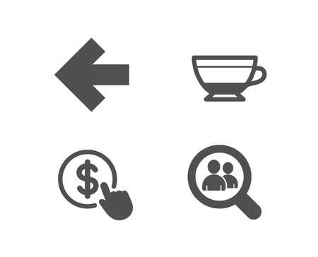 Set of Dry cappuccino, Left arrow and Buy currency icons. Search employees sign. Beverage mug, Direction arrow, Money exchange. Staff analysis.  Quality design elements. Classic style. Vector Фото со стока - 105500578