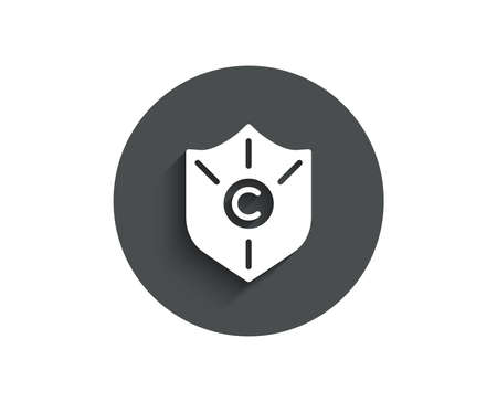 Ð¡opyright protection simple icon. Copywriting sign. Shield symbol. Circle flat button with shadow. Vector Ilustração