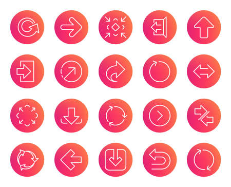 Linear Arrow icons. Set of Download, Synchronize and Recycle signs. Undo, Refresh and Login symbols. Sign out, Next and Upload. Universal Arrow elements. Trendy gradient circle buttons. Vector 스톡 콘텐츠 - 111102141