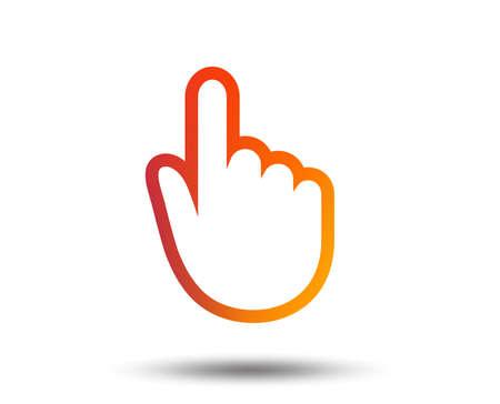 Icône de signe de curseur main. Symbole de pointeur de main. Élément de design dégradé flou. Icône plate graphique vive. Vecteur