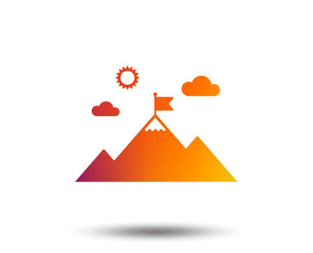 Flag on mountain icon. Leadership motivation sign. Mountaineering symbol. Blurred gradient design element. Vivid graphic flat icon. Vector