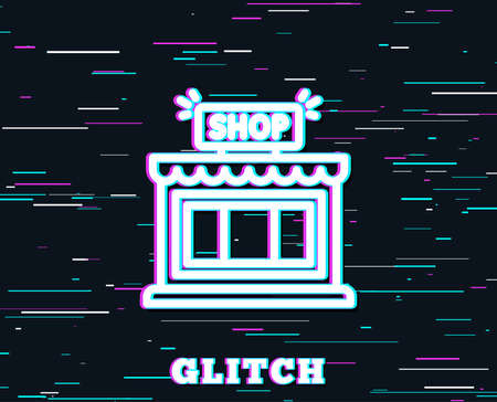 Glitch effect. Shop line icon. Store symbol. Shopping building sign. Background with colored lines. Vector