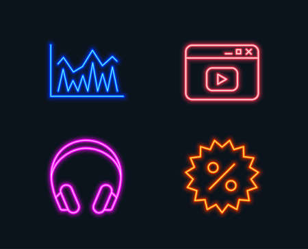 Neon lights. Set of Headphones, Investment and Video content icons. Discount sign. Music listening device, Economic statistics, Browser window. Special offer.  Glowing graphic designs. Vector 일러스트