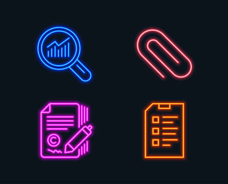 Neon lights. Set of Paper clip, Copywriting and Data analysis icons. Checklist sign. Attach paperclip, Сopyright signature, Magnifying glass. Data list.  Glowing graphic designs. Vector