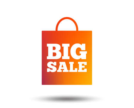 Big sale bag sign icon. Special offer symbol. Blurred gradient design element. Vivid graphic flat icon. Vector Ilustração