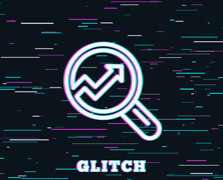 Glitch effect. Chart line icon. Report graph or Sales growth sign in Magnifying glass. Analysis and Statistics data symbol. Background with colored lines. Vector